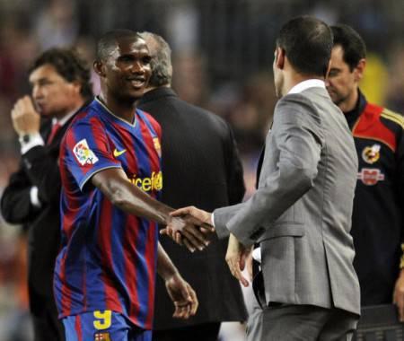 Eto'o e Guardiola ai tempi del Barcellona