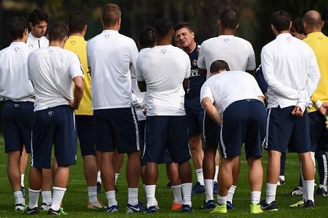 Walter Mazzarri e i giocatori dell'Inter