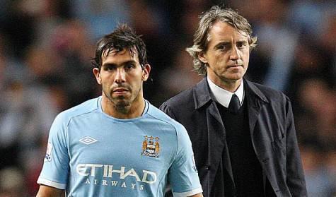 Mancini e Tevez ai tempi del Manchester City