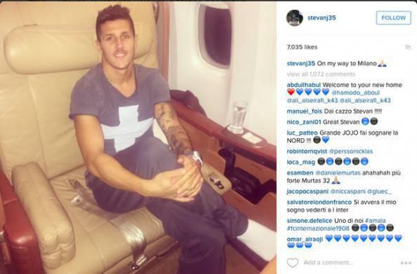 Stevan Jovetic diretto a Milano (foto Instagram)