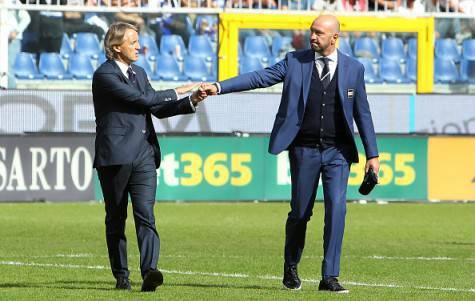 Roberto Mancini e Walter Zenga prima di Sampdoria-Inter