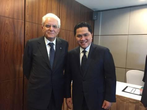 Thohir con Mattarella, Presidente della Repubblica italiana (inter.it)