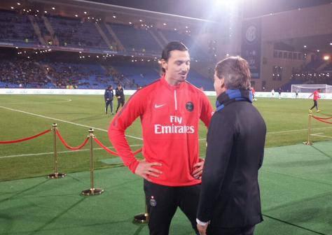 Mancini con Ibrahimovic prima di Inter-Psg a Marrakesh - foto @inter