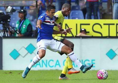 Eder contro Kondogbia in Sampdoria-Inter di campionato