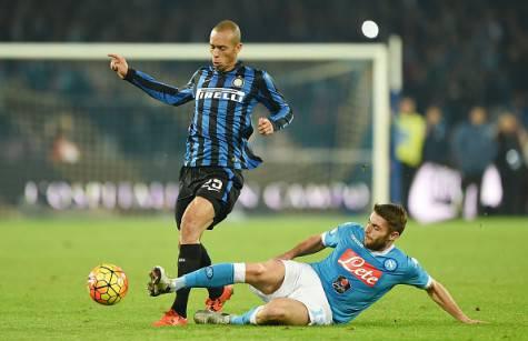 David Lopez contro Miranda in Napoli-Inter ©Getty Images