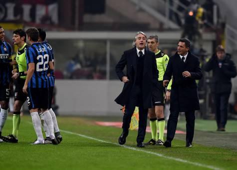 Roberto Mancini espulso nel derby ©Getty Images