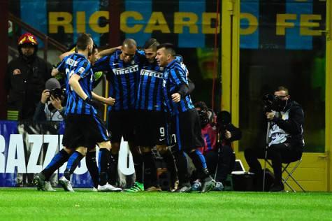 Inter-Chievo 1-0, Icardi festeggiato dopo il gol ©Getty Images