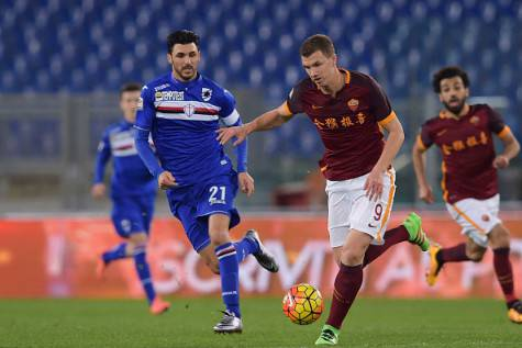 Soriano contro Dzeko in Roma-Sampdoria ©Getty Images