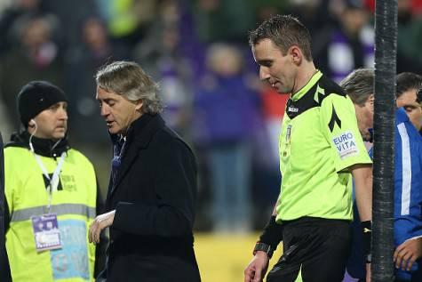 Mancini parla con Mazzoleni dopo Fiorentina-Inter ©Getty Images