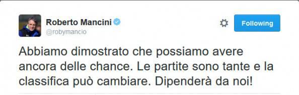 Inter-Palermo 3-1, il tweet di Mancini