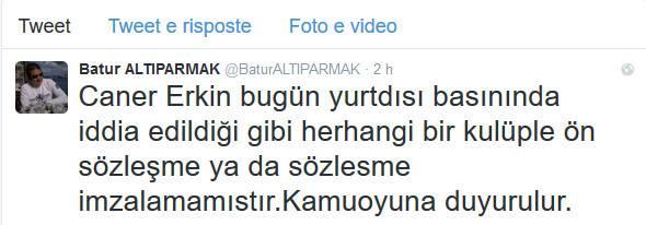 Il tweet dell'agente di Erkin