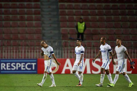 Sparta Praga-Inter 3-1, i giocatori nerazzurri (Getty Images)