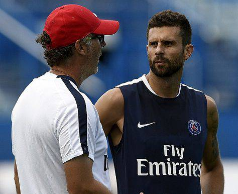 Thiago Motta con Laurent Blanc ©Getty Images