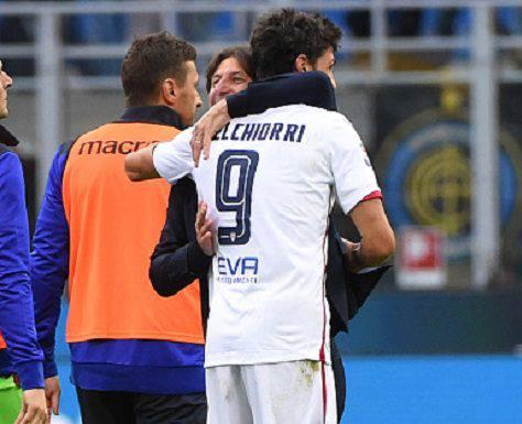 Rastelli abbraccia Melchiorri dopo il successo contro l'Inter (Getty Images)