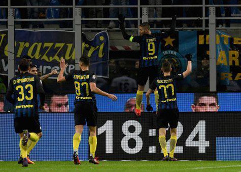 Inter-Fiorentina 4-2, la squadra esulta con Icardi (Getty Images)