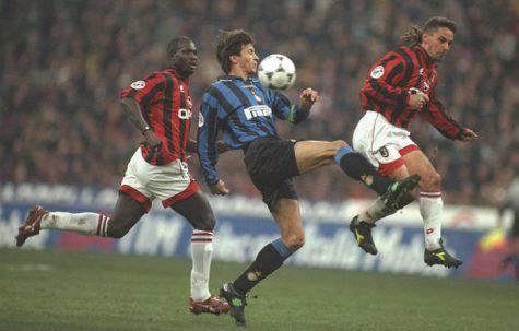 Paganin, a segno nel derby nel 1995/96, contro Baggio e Weah (Getty Images)