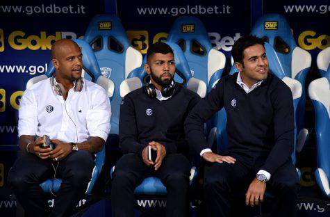 Gabigol in panchina con Eder e Felipe Melo (Getty Images)